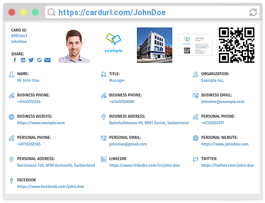 Jon Doe's CardURL profile screenshot