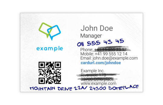 John Doe's business card