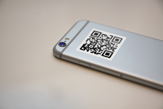 QR code on the back of the iPhone