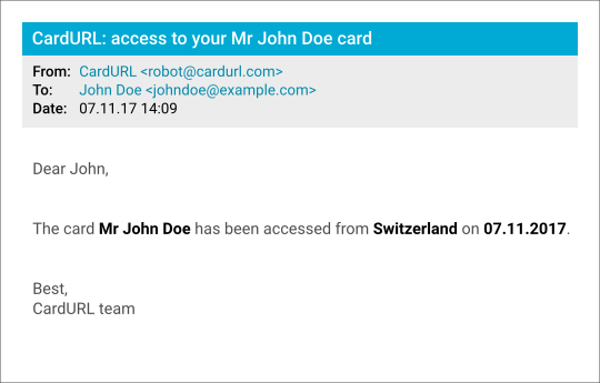 CardURL accessed card notification mail