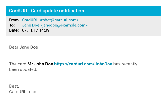 CardURL notification mail screenshot