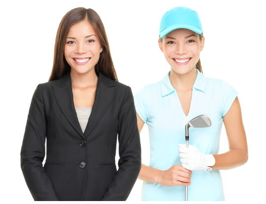 Woman golf player smiling holding golf club isolated on white background