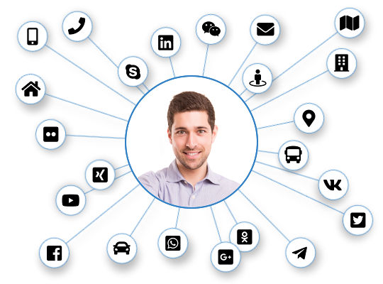 Picture of a man connected with social networks